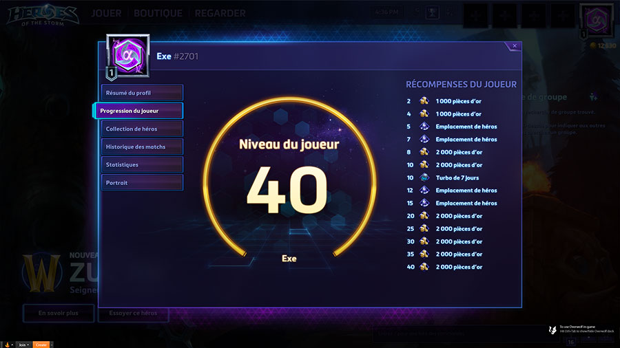 Heroes of the Storm : la progression de votre profil