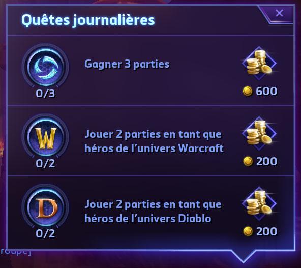 Heroes of the Storm : les quêtes journalières