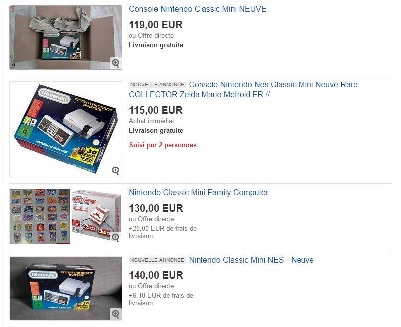 Ebay : la Nintendo Classic Mini voit son prix s'enflammer