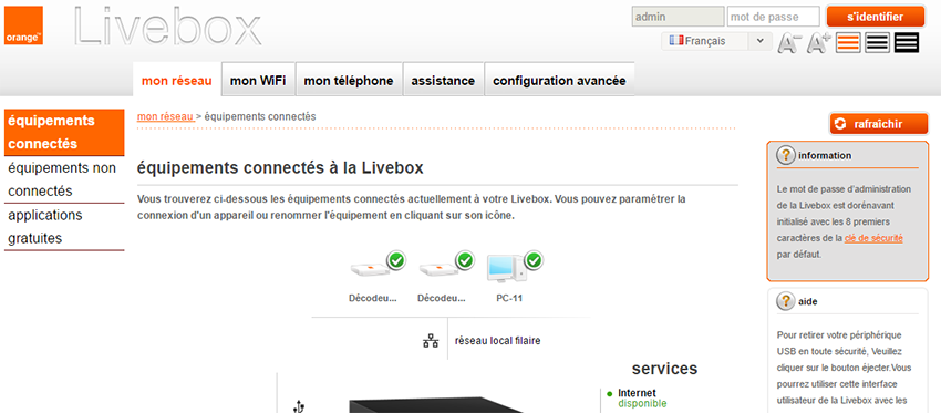 Orange Livebox : interface d'administration