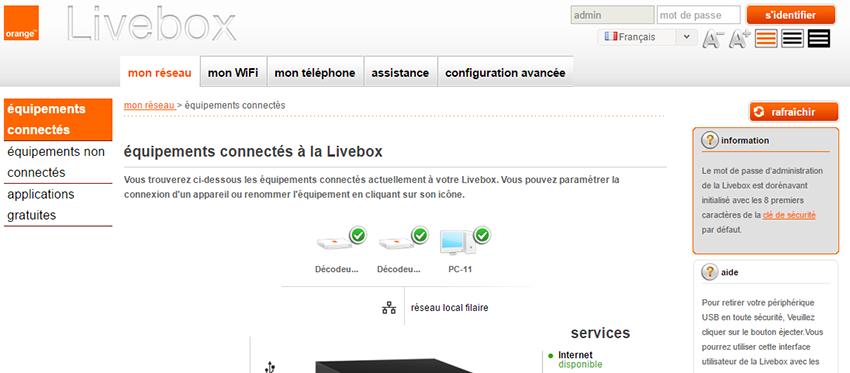 Orange Livebox : interface d'administration