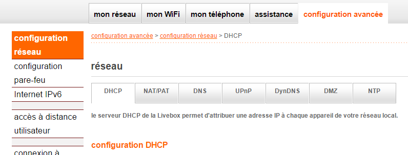 Orange Livebox : ajout d'une IP fixe