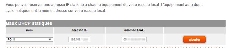 Orange Livebox : ajout d'une IP fixe