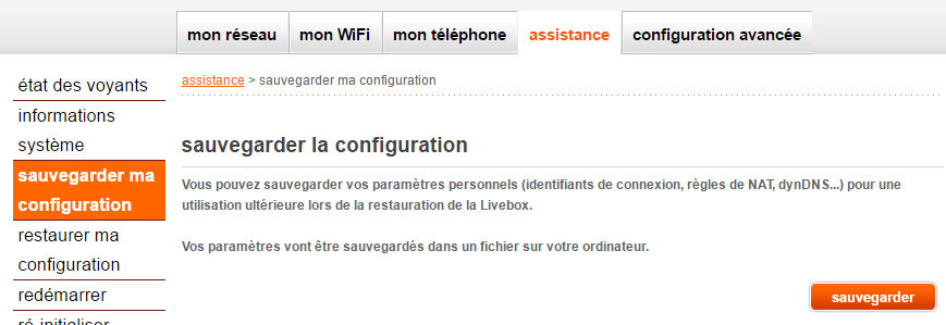 Orange Livebox : sauvegarde de la configuration