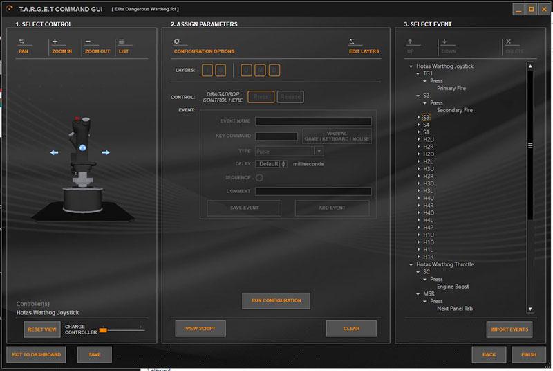 Thrustmaster HOTAS Warthog : le logiciel TARGET